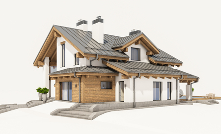 suburban neighborhood: 3d rendering of modern cozy house in chalet style with garage for sale or rent. Isolated on white.