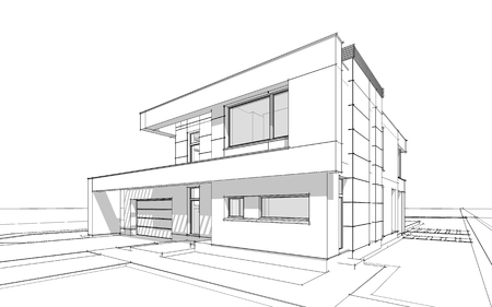 garage on house: 3d rendering  sketch of modern cozy house with garage for sale or rent with large garden and lawn. Black line on white background