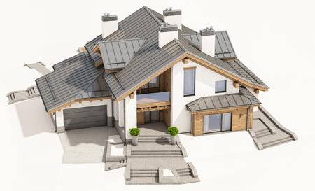 residential construction: 3d rendering of modern cozy house in chalet style with garage for sale or rent. Isolated on white.