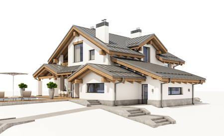 3d rendering of modern cozy house in chalet style with garage for sale or rent. Isolated on white.