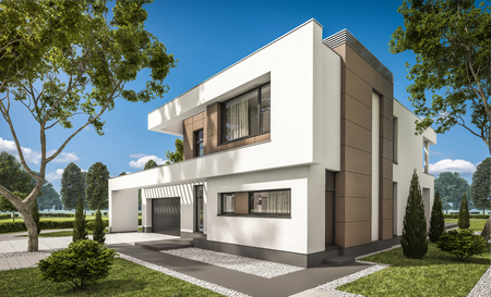 Rendering 3d di moderna casa accogliente con garage per la vendita o l'affitto con grande giardino e prato. Chiaro giornata di sole estivo con cielo nuvoloso. Archivio Fotografico - 84549029