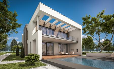Rendement 3D d'une maison moderne et confortable avec garage à vendre ou à louer avec grand jardin et pelouse. Jolie journée ensoleillée avec ciel sans nuages.
