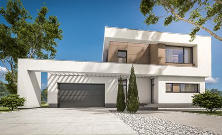 판매 또는 큰 정원 및 잔디 임대 차고와 현대 아늑한 집의 3d 렌더링. 맑은 화창한 여름 날 cloudless 하늘입니다. 스톡 콘텐츠