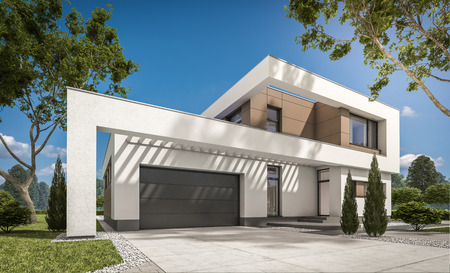 Representación 3d de la moderna casa acogedora con garaje para la venta o alquiler con gran jardín y césped. Claro soleado día de verano con cielo despejado.
