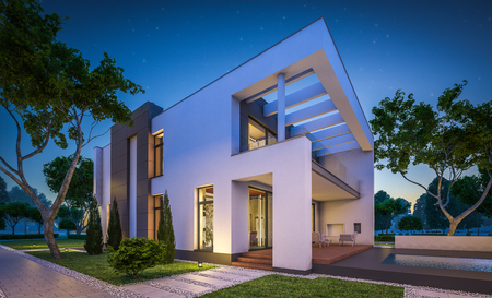 3d rendering of modern cozy house with garage for sale or rent with many grass on lawn. Clear summer night with stars on the sky. Cozy warm light from window Stock Photo