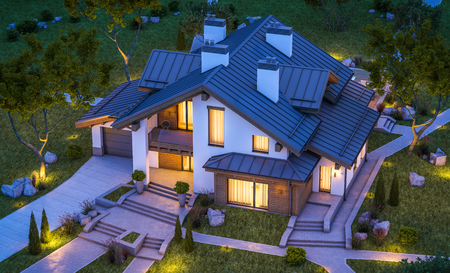 3d rendering of modern cozy house in chalet style with garage for sale or rent with many grass on lawn. Clear summer night with stars on the sky. Cozy warm light from window