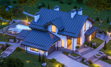 construction project: 3d rendering of modern cozy house in chalet style with garage for sale or rent with many grass on lawn. Clear summer night with stars on the sky. Cozy warm light from window