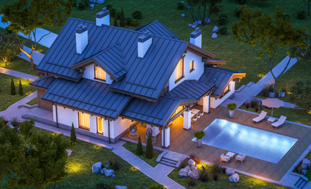 garage: 3d rendering of modern cozy house in chalet style with garage for sale or rent with many grass on lawn. Clear summer night with stars on the sky. Cozy warm light from window