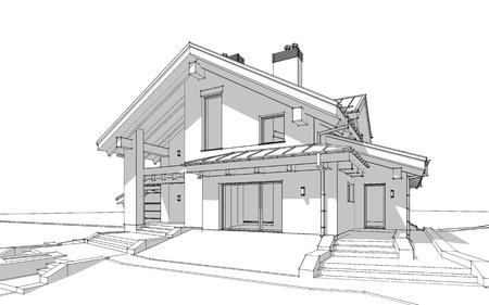 3D render schets van modern gezellig huis in chalet stijl te koop of te huur. Aqua crayon stijl met hand tekening entourage. Stockfoto