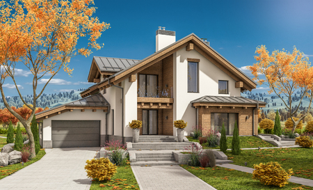 residential homes: 3d rendering of modern cozy house in chalet style with garage for sale or rent with large garden and lawn. Clear sunny autumn day with cloudless sky.