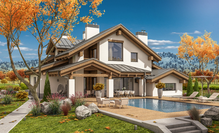 3d rendering of modern cozy house in chalet style with garage for sale or rent with large garden and lawn. Clear sunny autumn day with cloudless sky.