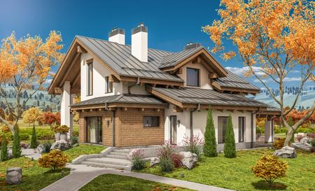 Wiedergabe 3d des modernen gemütlichen Hauses in der Chaletart mit Garage für Verkauf oder Miete mit großem Garten und Rasen. Klarer sonniger Herbsttag mit wolkenlosem Himmel. Standard-Bild