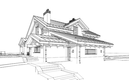 day: 3D render sketch of modern cozy house in chalet style for sale or rent. Aqua crayon style with hand drawing entourage.