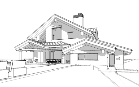 3D render sketch of modern cozy house in chalet style for sale or rent. Aqua crayon style with hand drawing entourage.