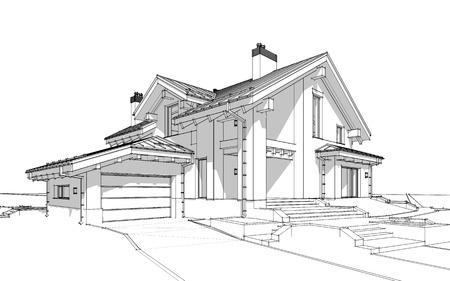 Croquis De Rendu 3D De Maison Confortable Moderne Dans Un Style
