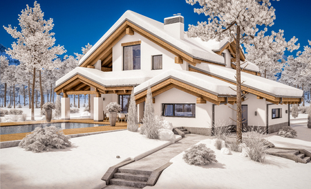 3d rendering of modern cozy house in chalet style with garage. Mountain ski resort with snow. Clear sunny winter day with cloudless sky. With many snow on the roof and lawn.