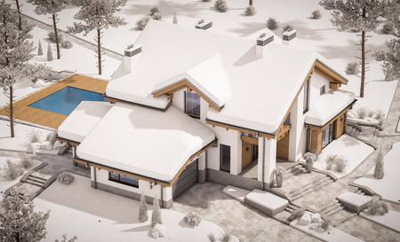 Rendu 3D de maison confortable moderne dans un style chalet avec garage. Station de ski de montagne avec de la neige. Effacer la journée d'hiver ensoleillée avec un ciel sans nuages. Avec beaucoup de neige sur le toit et la pelouse. Banque d'images - 88258233
