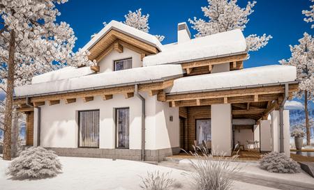 Rendu 3D de maison confortable moderne dans un style chalet avec garage. Station de ski de montagne avec de la neige. Effacer la journée d'hiver ensoleillée avec un ciel sans nuages. Avec beaucoup de neige sur le toit et la pelouse. Banque d'images - 89047889