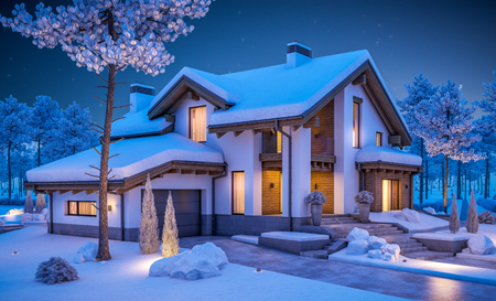 3d rendering of modern cozy house in chalet style with garage. Mountain ski resort with snow. Clear winter night with many stars on the sky. With many snow on the roof and lawn.
