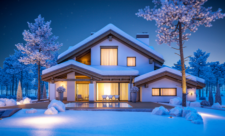 3d rendering of modern cozy house in chalet style with garage. Mountain ski resort with snow. Clear winter night with many stars on the sky. With many snow on the roof and lawn. Imagens - 89289489