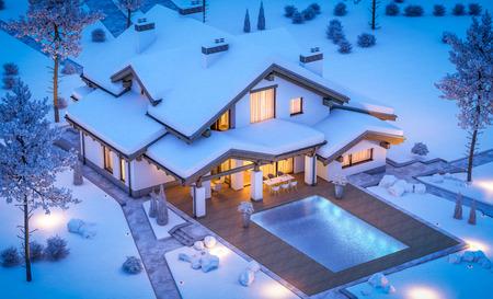 Rendu 3D de maison confortable moderne dans un style chalet avec garage. Station de ski de montagne avec de la neige. Nuit d'hiver claire avec de nombreuses étoiles dans le ciel. Avec beaucoup de neige sur le toit et la pelouse. Banque d'images - 89530337