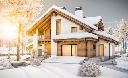3d rendering of modern cozy house in chalet style with garage. Mountain ski resort with snow. Evening with friendly sunshine rays. With many snow on the roof and lawn.