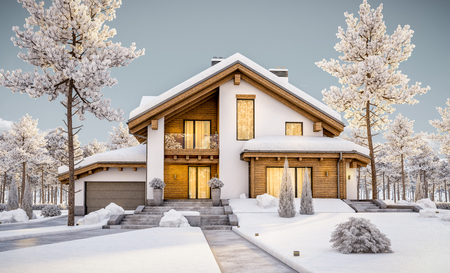 3d rendering of modern cozy house in chalet style with garage. Mountain ski resort with snow. Evening with friendly cozy rays from window. With many snow on the roof and lawn.