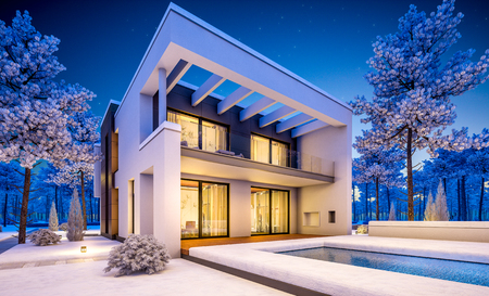 3d rendering of modern cozy house with garage for sale or rent with many snow on lawn. Clear winter night with stars on the sky. Cozy warm light from window Archivio Fotografico