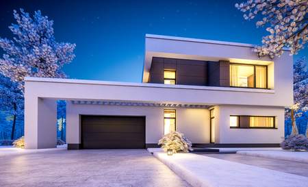 3d rendering of modern cozy house with garage for sale or rent with many snow on lawn. Clear winter night with stars on the sky. Cozy warm light from window Stock Photo