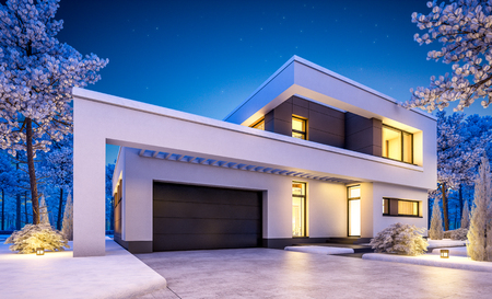 3d rendering of modern cozy house with garage for sale or rent with many snow on lawn. Clear winter night with stars on the sky. Cozy warm light from window Stok Fotoğraf