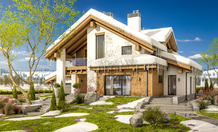 3d rendering of modern cozy house in chalet style with garage. The first warm spring rays of the sun melt the snow and icicles. Flowers and grass make their way through the snow.
