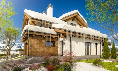 Rendu 3d de maison moderne confortable dans le style de chalet avec bokhe Banque d'images - 93868951