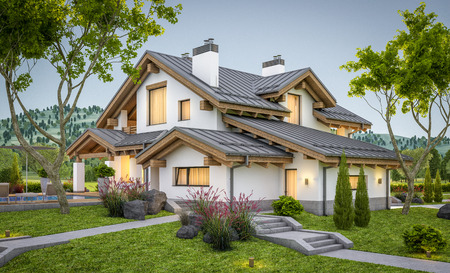 3d rendering of modern cozy house in chalet style with garage for sale or rent with large garden and lawn. Clear summer evenig with soft sky. Cozy warm light from window Фото со стока