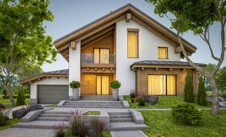 3D-Rendering von modernen gemütlichen Haus im Glashaus mit Garage zum Verkauf oder Miete mit großen Garten und Rasen . Sonniger Sommertag mit Licht . Gemütliches warmes Licht mit Fenster Standard-Bild