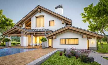 3d rendering of modern cozy house in chalet style with garage for sale or rent with large garden and lawn. Clear summer evenig with soft sky. Cozy warm light from window Stock Photo
