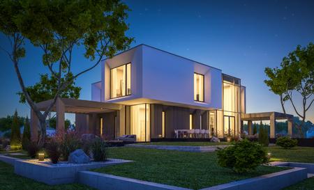 Rendu 3D de maison confortable moderne dans le jardin avec garage à vendre ou à louer avec belle piscine dans la cour. Nuit d'été claire avec des étoiles sur le ciel. Lumière chaude confortable de la fenêtre.