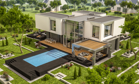 3d rendering of modern cozy house in the garden with garage for sale or rent with beautiful pool in the yard. Clear sunny summer day with blue sky.