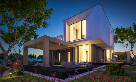 3d rendering of modern cozy house in the garden with garage for sale or rent with beautiful pool in the yard. Clear summer night with stars on the sky. Cozy warm light from window.