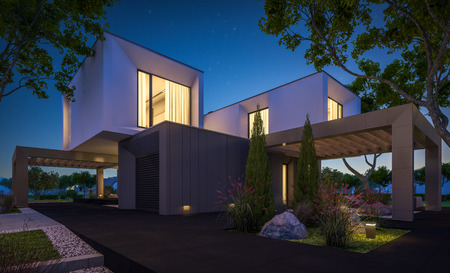 3d rendering of modern cozy house in the garden with garage for sale or rent with beautiful pool in the yard. Clear summer night with stars on the sky. Cozy warm light from window. Stock Photo - 101014633