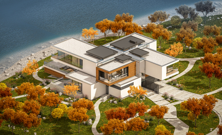 3d rendering of modern cozy house by the river with garage for sale or rent with beautiful mountains on background. Clear sunny autumn day with cloudless sky.