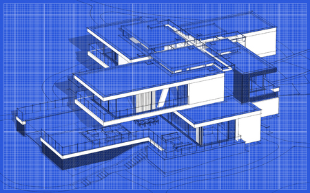 3d rendering sketch of modern cozy house with garage for sale or rent. Graphics black line sketch with white spot on blueprint background. Stock Photo