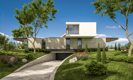 3d rendering of modern cozy house on the hill with garage and pool for sale or rent with beautiful landscaping on background. Clear sunny summer day with blue sky. Archivio Fotografico - 117357140