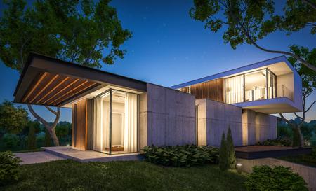 Rendu 3D d'une maison moderne et confortable sur la colline avec garage et piscine à vendre ou à louer avec un bel aménagement paysager en arrière-plan. Nuit d'été claire avec de nombreuses étoiles dans le ciel.
