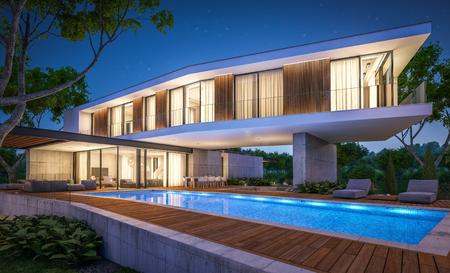 3D-Rendering des modernen gemütlichen Hauses auf dem Hügel mit Garage und Pool zum Verkauf oder zur Miete mit schöner Landschaftsgestaltung im Hintergrund. Klare Sommernacht mit vielen Sternen am Himmel.