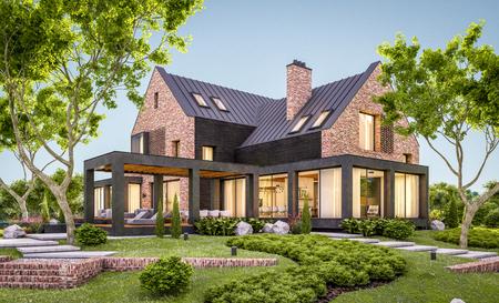 Renderowania 3D nowoczesny przytulny dom klinkierowy na stawach z garażem i basenem na sprzedaż lub wynajem z pięknym krajobrazem w tle. Pogodny letni wieczór z przytulnym światłem z okna