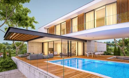 3D-Rendering des modernen gemütlichen Hauses auf dem Hügel mit Garage und Pool zum Verkauf oder zur Miete mit schöner Landschaftsgestaltung im Hintergrund. Klarer Sommerabend mit gemütlichem Licht aus dem Fenster. Standard-Bild