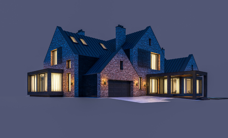 3d rendering of modern cozy clinker house on the ponds with garage and pool for sale or rent in night with cozy light from window. Isolated on white