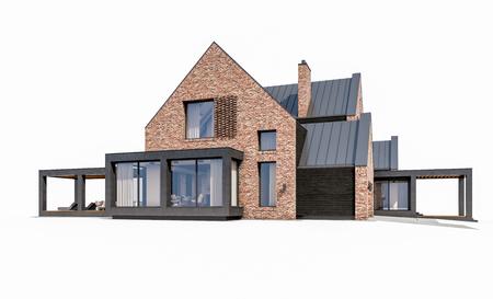 3D-Rendering des modernen gemütlichen Klinkerhauses auf den Teichen mit Garage und Pool zum Verkauf oder zur Miete. Isoliert auf weiß