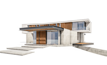 3d rendering of modern cozy house on the hill with garage and pool for sale or rent. Isolated on white