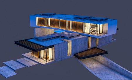 3d rendering of modern cozy house on the hill with garage and pool for sale or renting night with cozy light from window. Isolated on gray Stock Photo